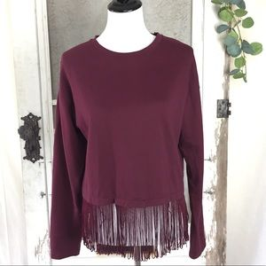 Zara Trafaluc Tasseled Top Sweater Sz Medium